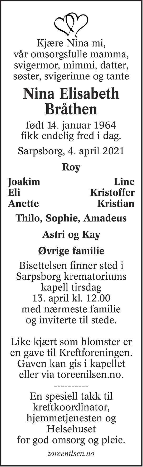 Nina Elisabeth Bråthen Dødsannonse