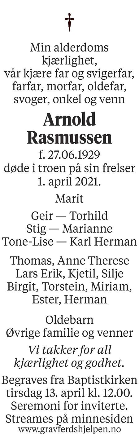 Arnold Rasmussen Dødsannonse