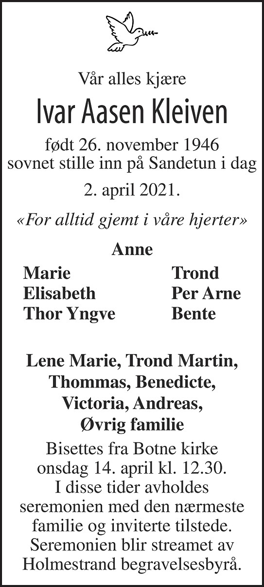 Ivar Aasen Kleiven Dødsannonse