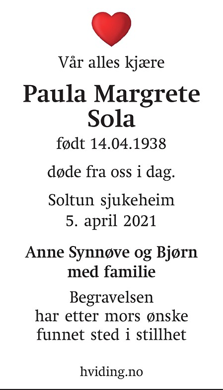 Paula Margrete Sola Dødsannonse