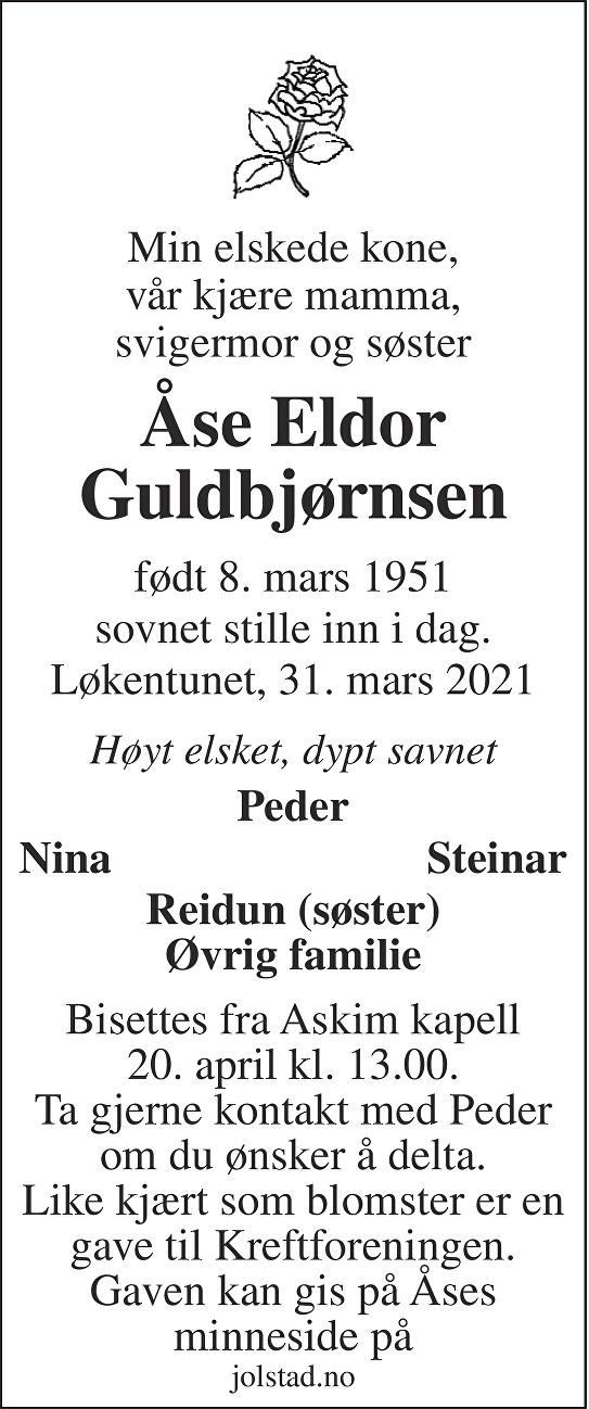 Åse Eldor Guldbjørnsen Dødsannonse