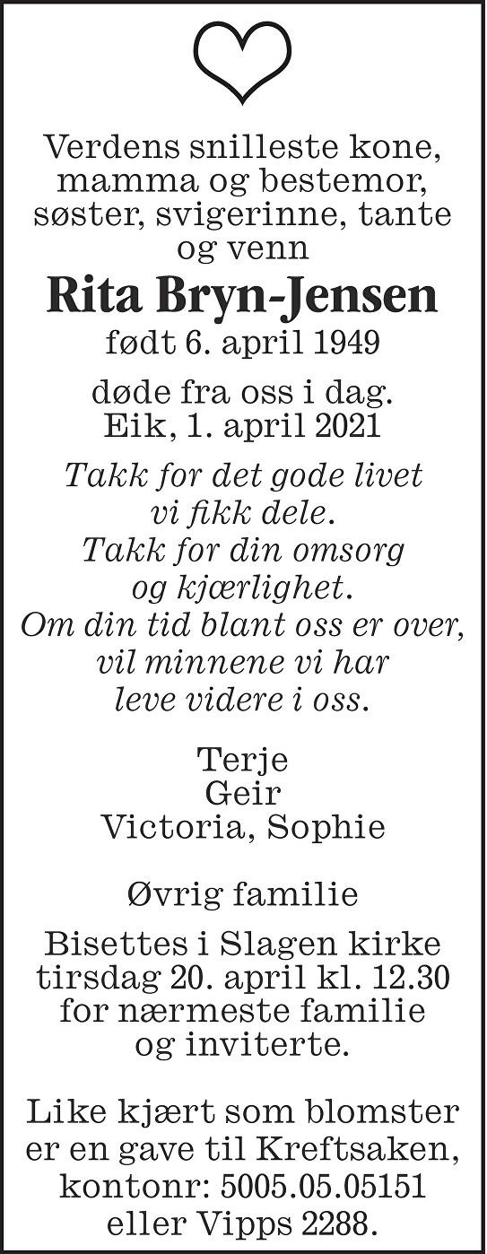 Rita Irene Bryn-Jensen Dødsannonse