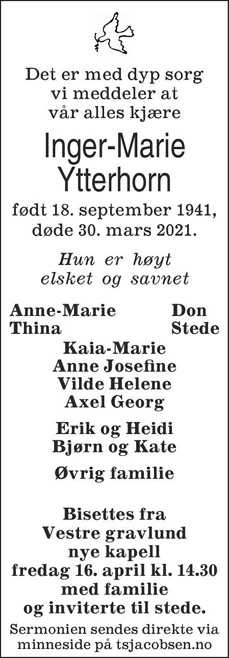 Inger-Marie Ytterhorn Dødsannonse