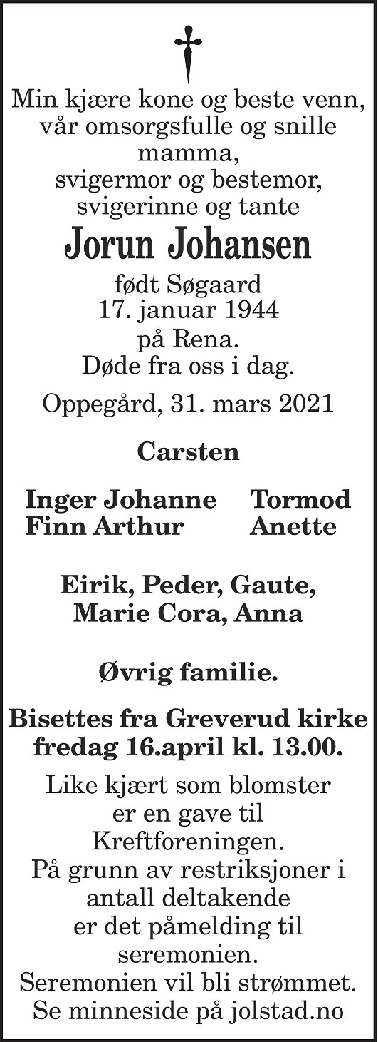 Jorun Johansen Dødsannonse