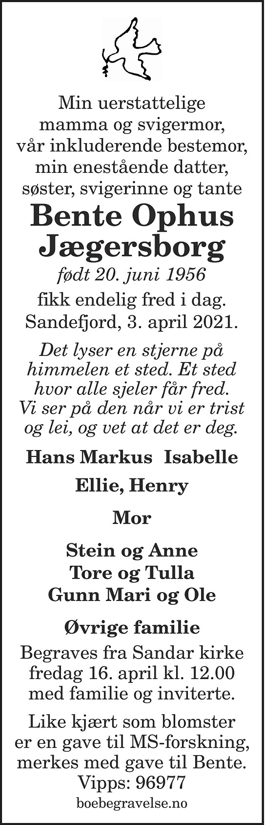 Bente Ophus Jægersborg Dødsannonse
