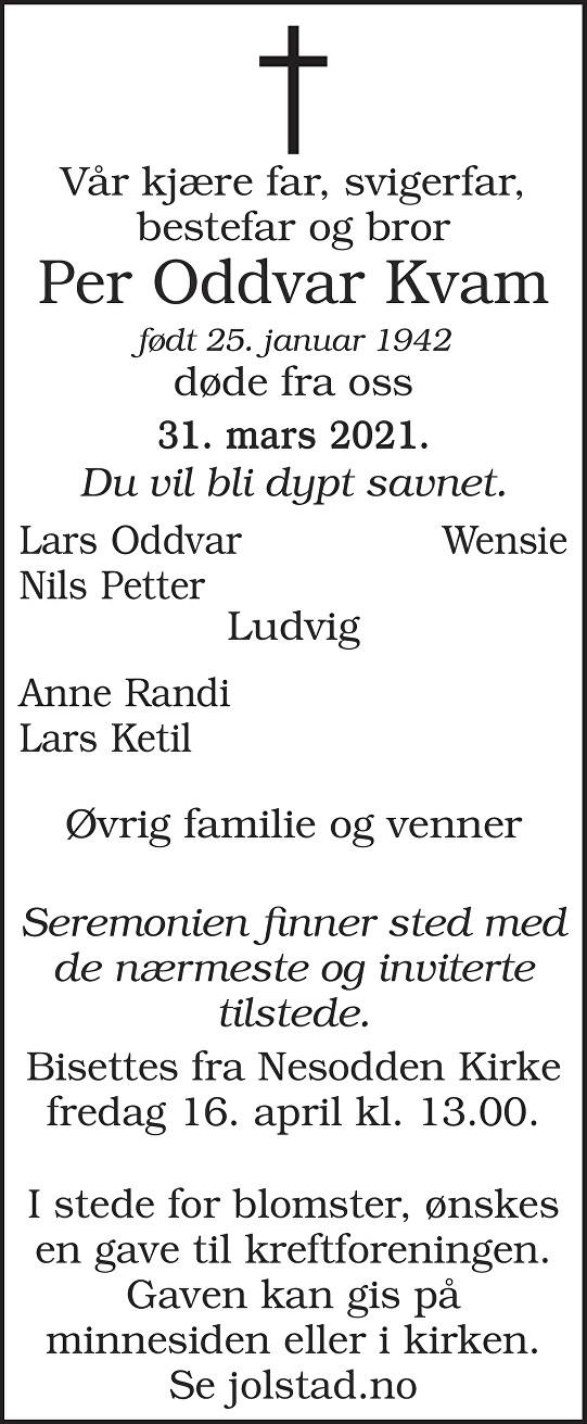 Per Oddvar Kvam Dødsannonse