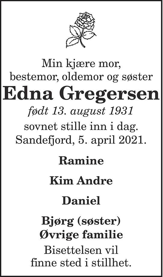 Edna Gregersen Dødsannonse