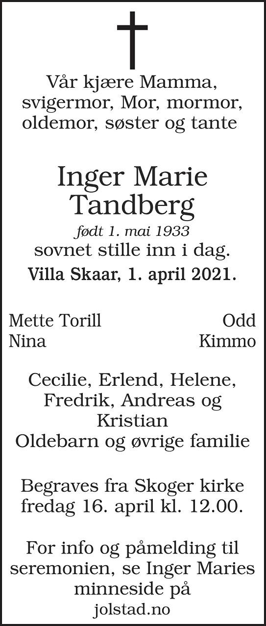 Inger Marie Tandberg Dødsannonse