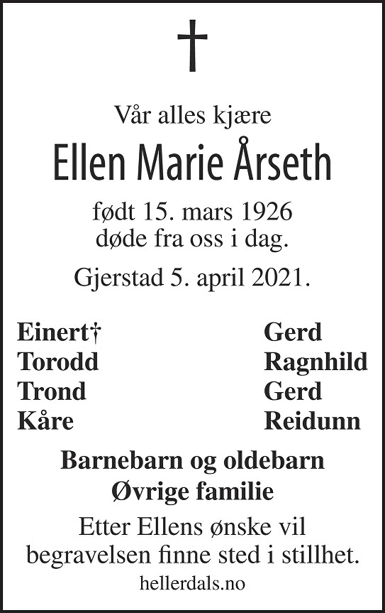 Ellen Marie Årseth Dødsannonse
