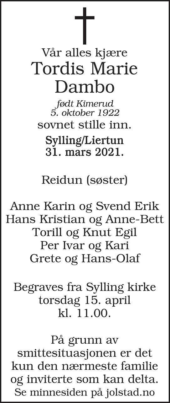 Tordis Marie Dambo Dødsannonse