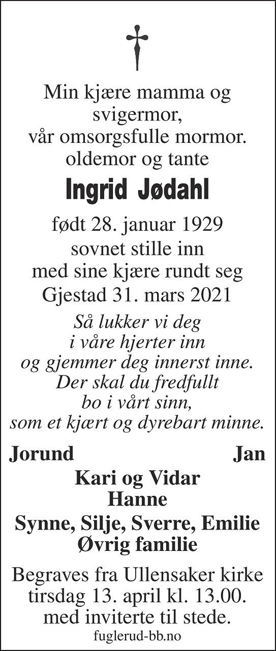 Ingrid Jødahl Dødsannonse