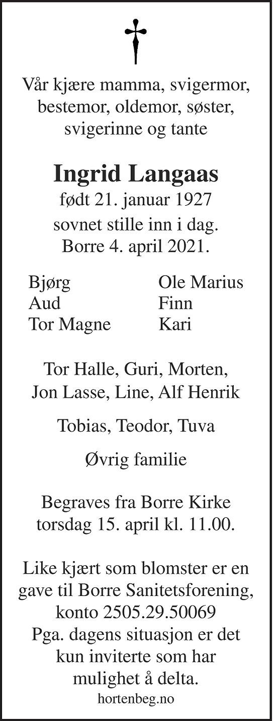 Ingrid Langaas Dødsannonse