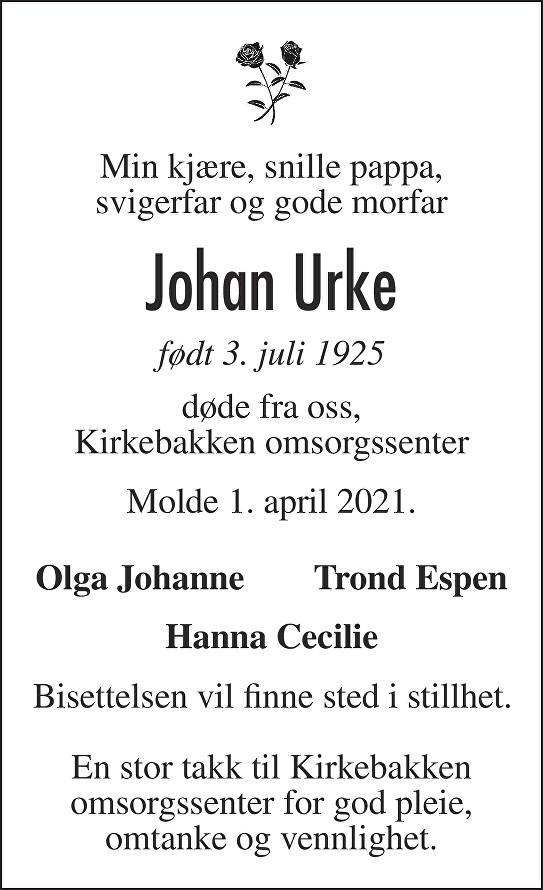 Johan  Urke Dødsannonse