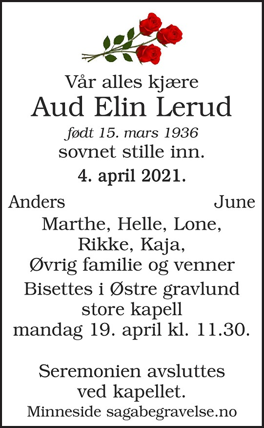Aud Elin Lerud Dødsannonse