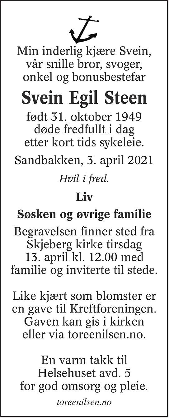 Svein Egil Steen Dødsannonse