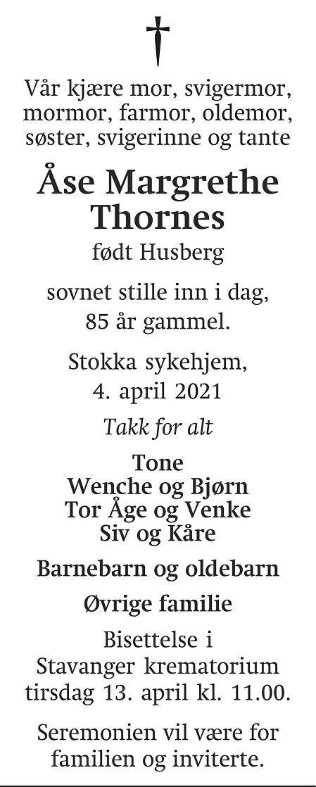 Åse Margrethe  Thornes Dødsannonse