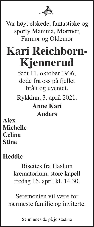 Kari Reichborn-Kjennerud Dødsannonse