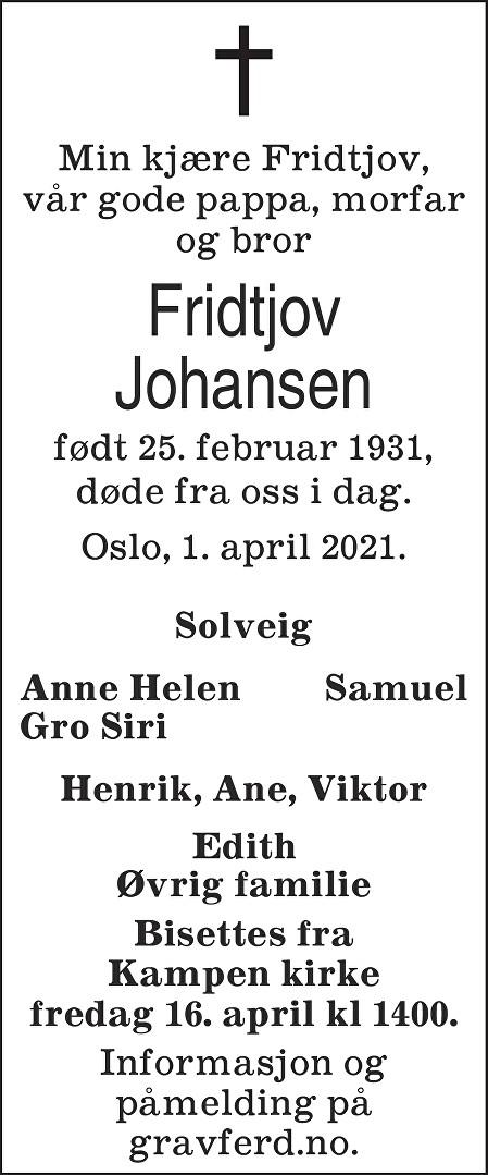 Fridtjov Johansen Dødsannonse