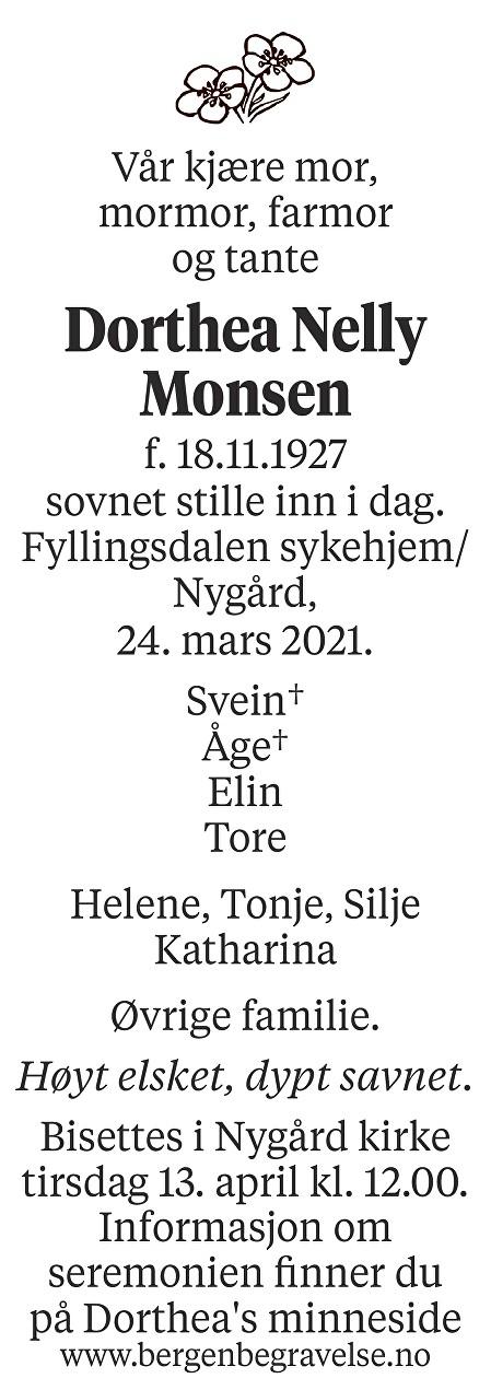 Dorthea Nelly Monsen Dødsannonse