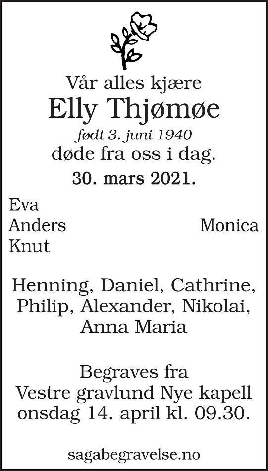 Elly Thjømøe Dødsannonse