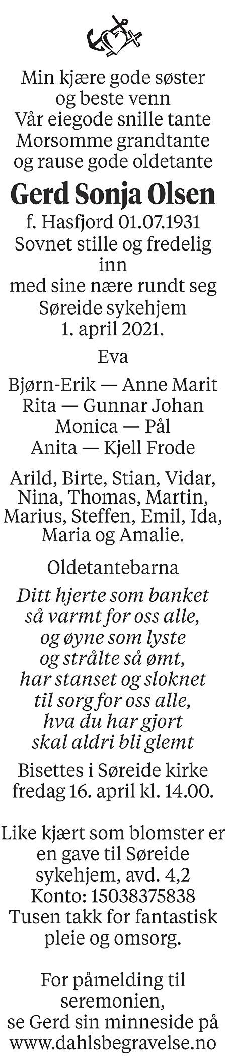 Gerd Olsen Dødsannonse