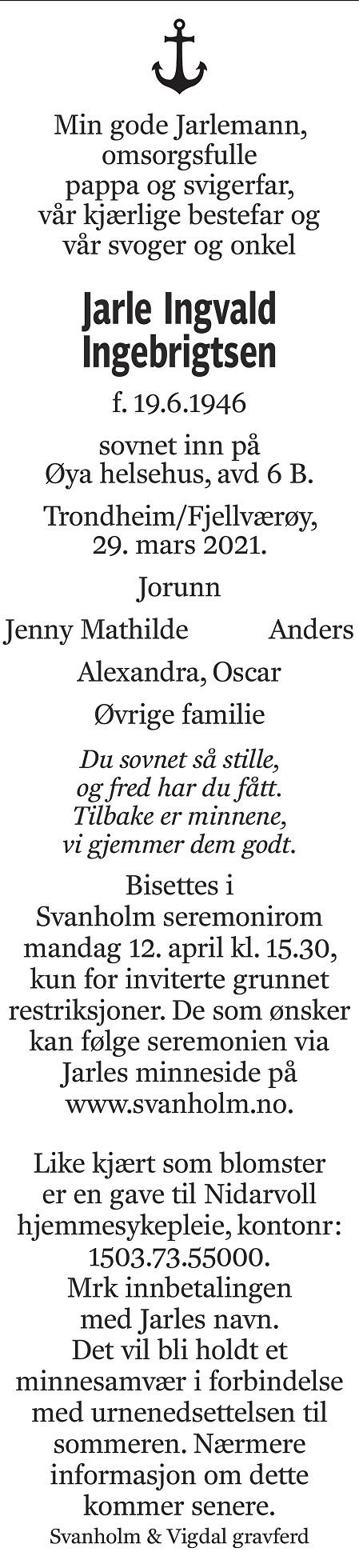Jarle Ingvald Ingebrigtsen Dødsannonse
