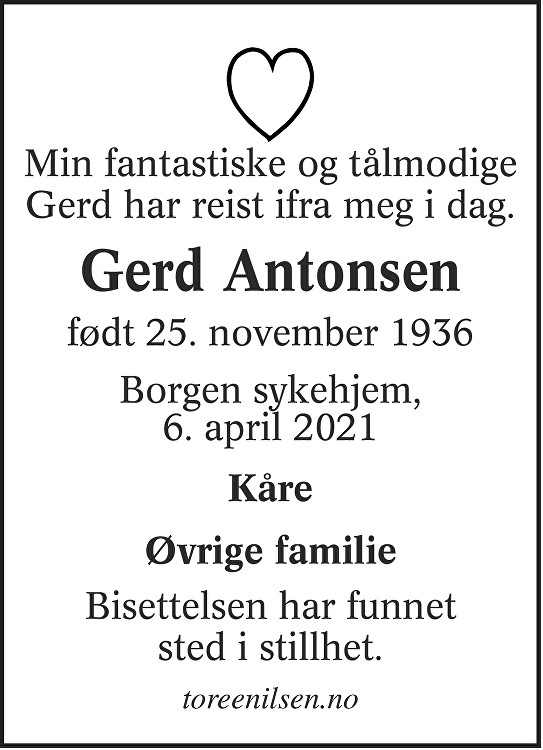 Gerd Antonsen Dødsannonse