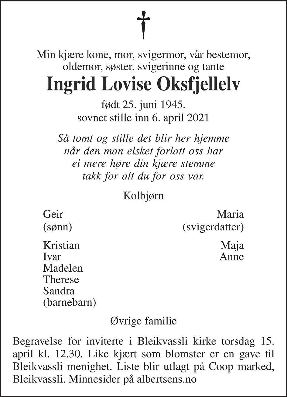 Ingrid Lovise Oksfjellelv Dødsannonse