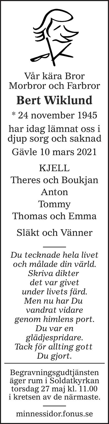 Bert Wiklund Death notice