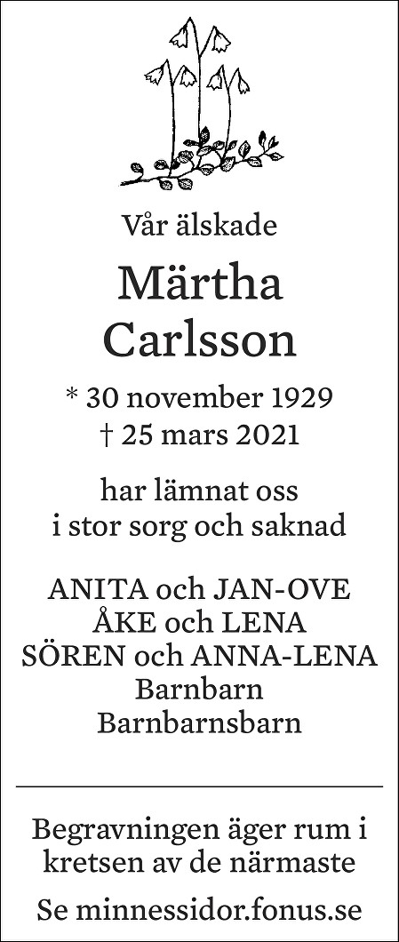 Märtha Carlsson Death notice