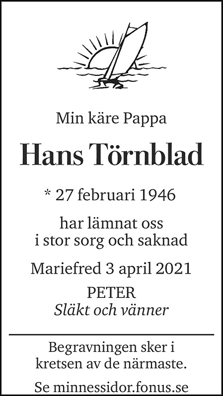 Hans Törnblad Death notice
