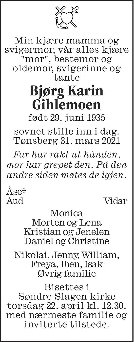 Bjørg Karin Gihlemoen Dødsannonse