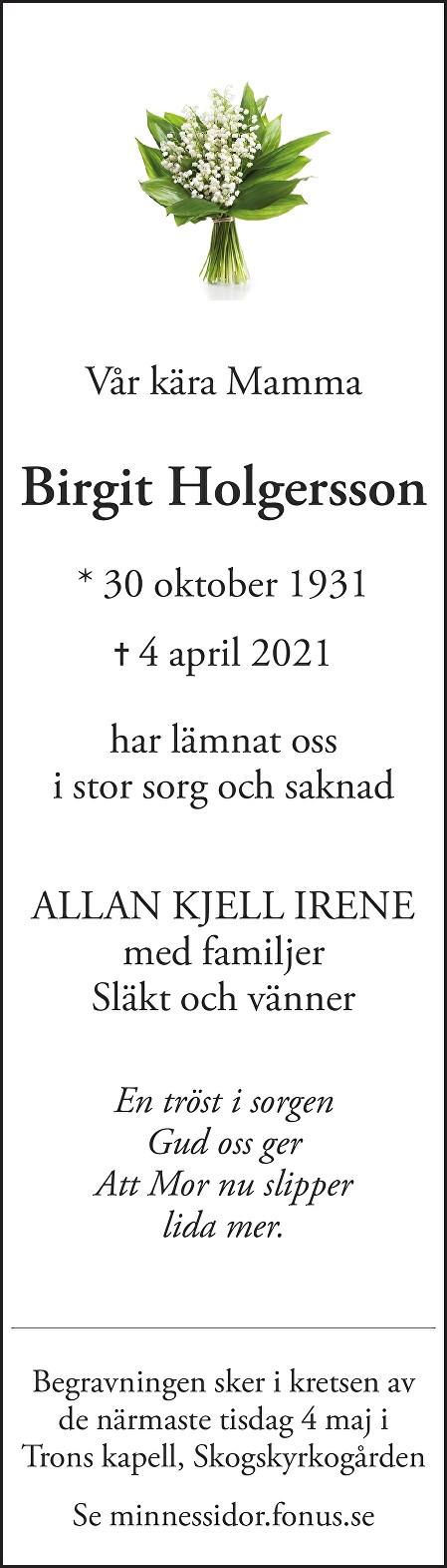 Birgit Holgersson Death notice