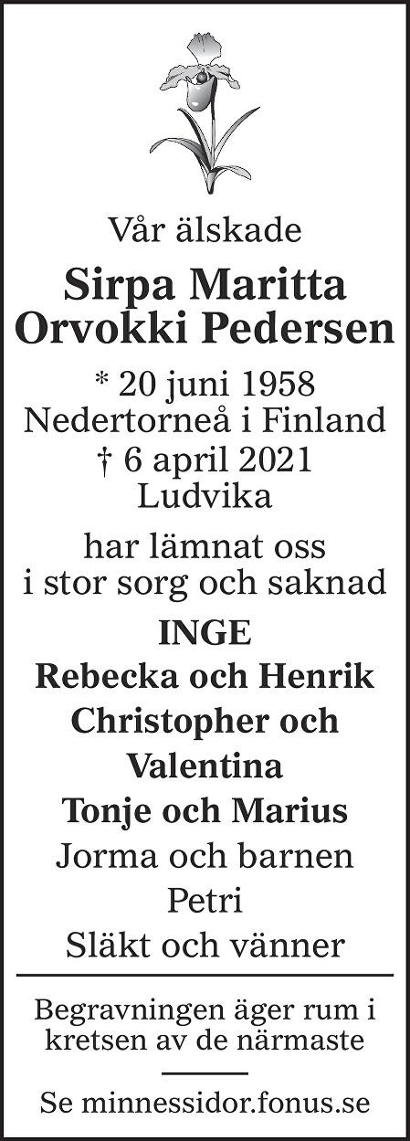 Sirpa Maritta Orvokki Pedersen Death notice
