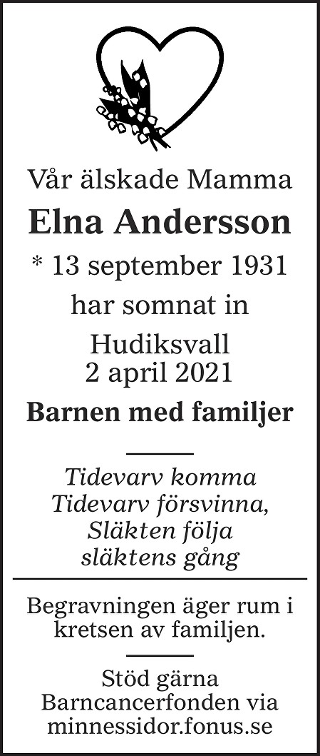 Elna Andersson Death notice