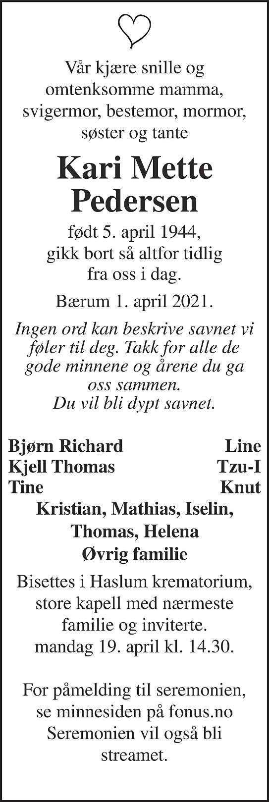 Kari Mette Pedersen Dødsannonse