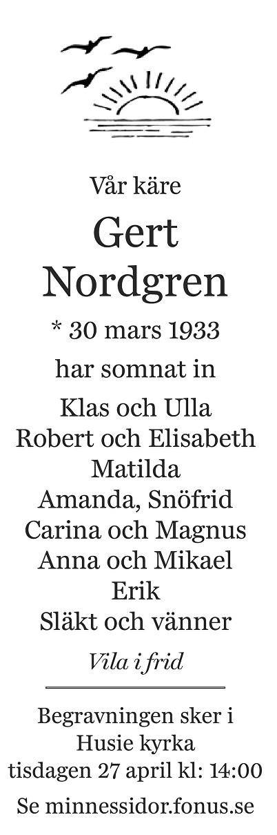 Gert Nordgren Death notice