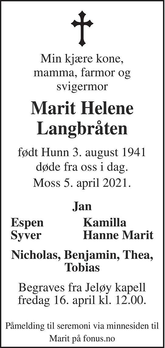Marit Helene Langbråten Dødsannonse
