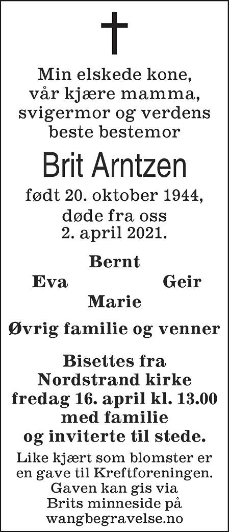 Brit Arntzen Dødsannonse