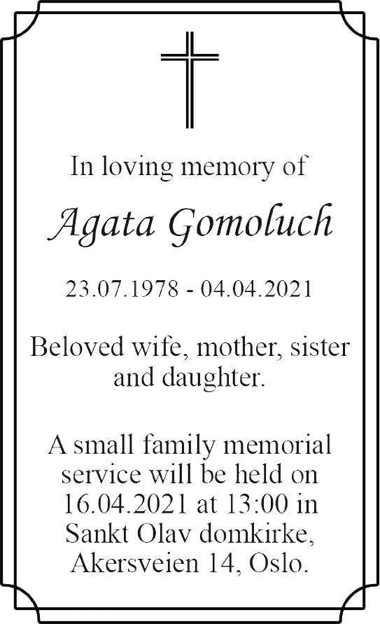 Agata Adelina Gomoluch Dødsannonse