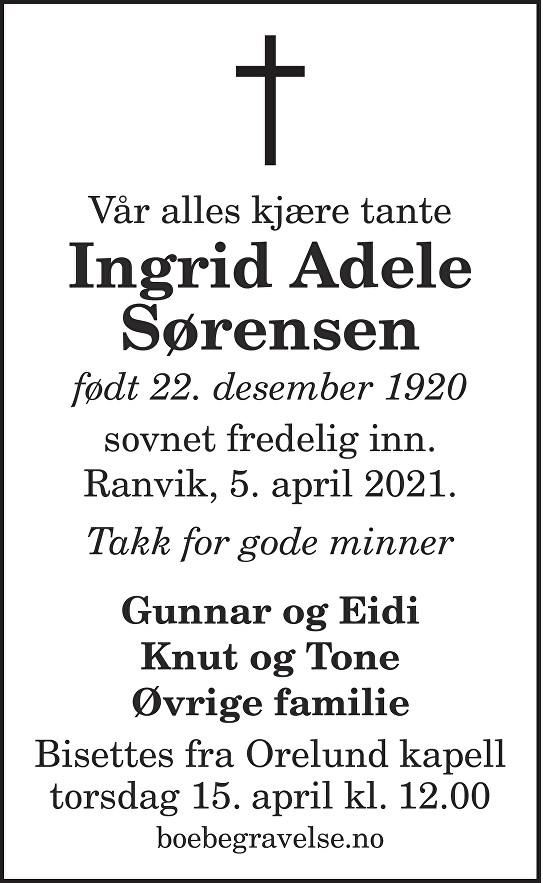 Ingrid Adele Sørensen Dødsannonse