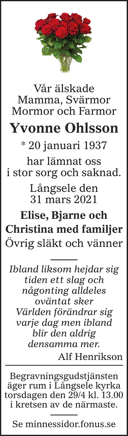 Yvonne Ohlsson Death notice