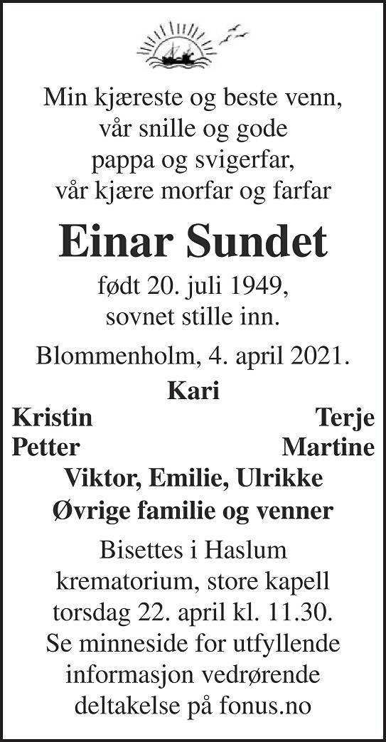 Einar Sundet Dødsannonse