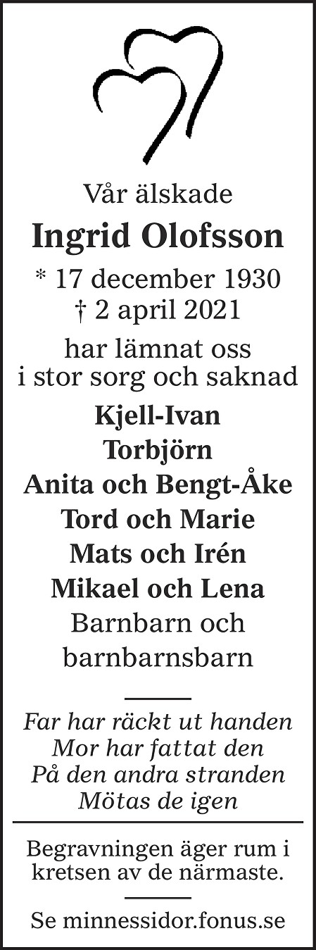 Ingrid Olofsson Death notice