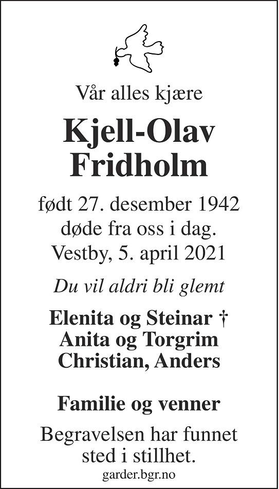Kjell Olav Fridholm Dødsannonse