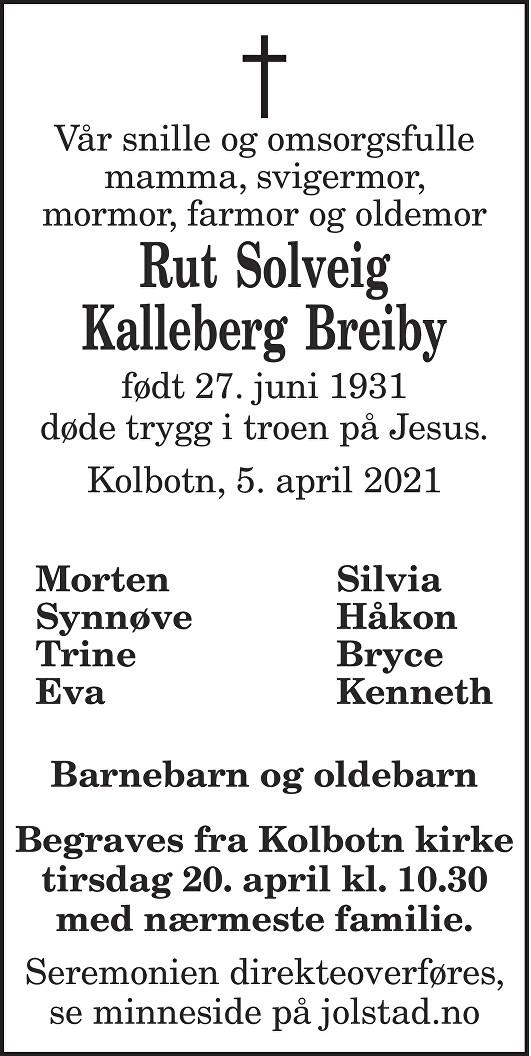 Rut Solveig Kalleberg Breiby Dødsannonse