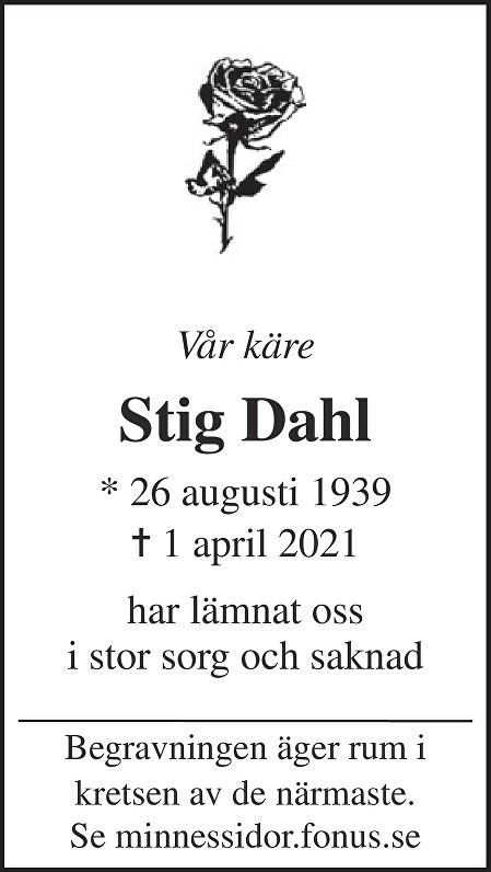 Stig Dahl Death notice