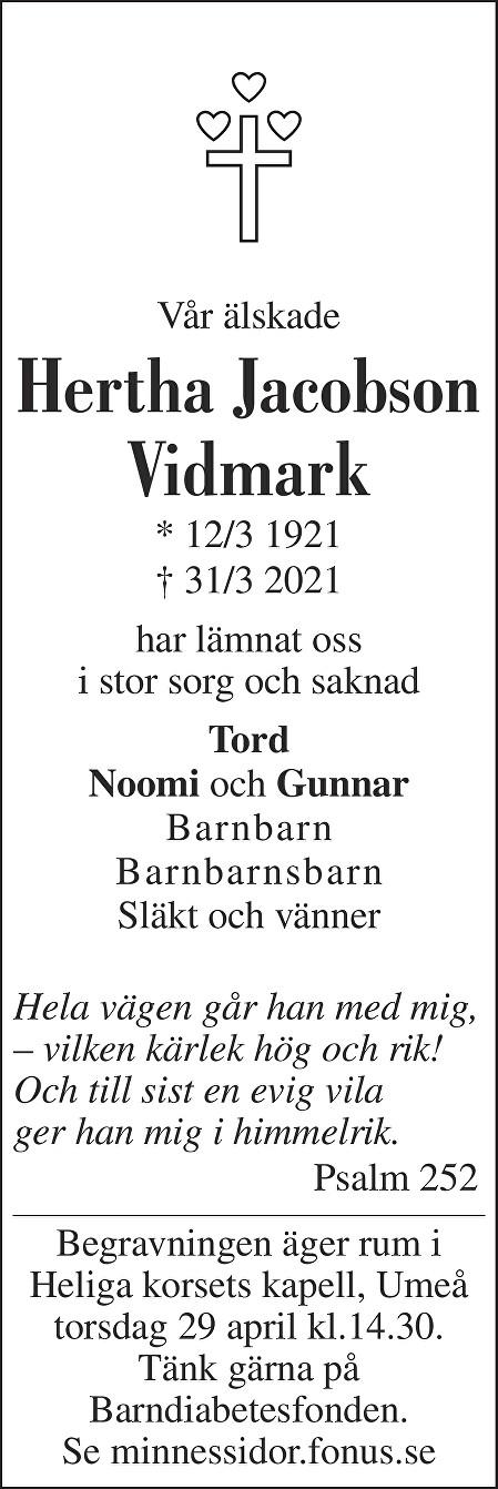 Hertha Jacobson Vidmark Death notice