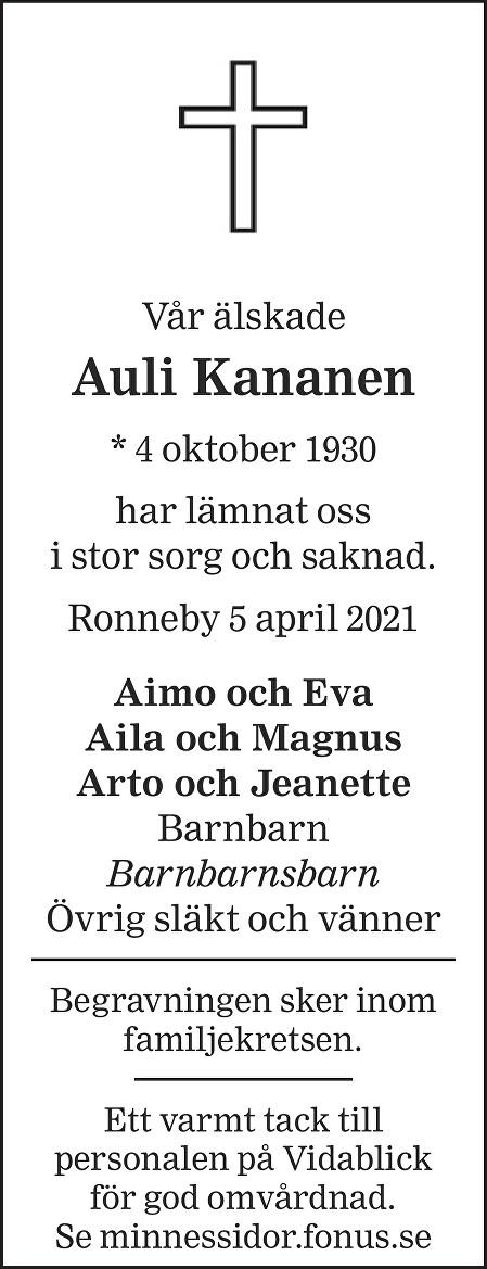 Auli Kananen Death notice