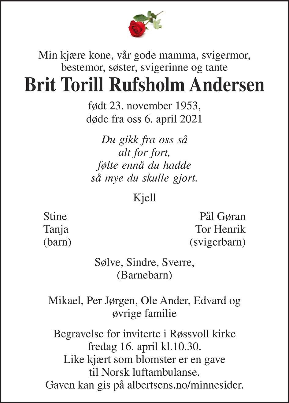Brit Torill Rufsholm Andersen Dødsannonse